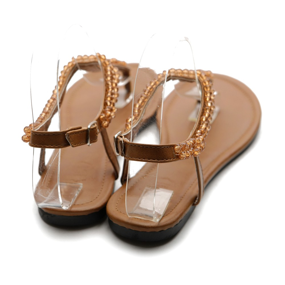 Beautiful Ollio Womens Shoes Beaded Thong Multi Colored Flat Sandals