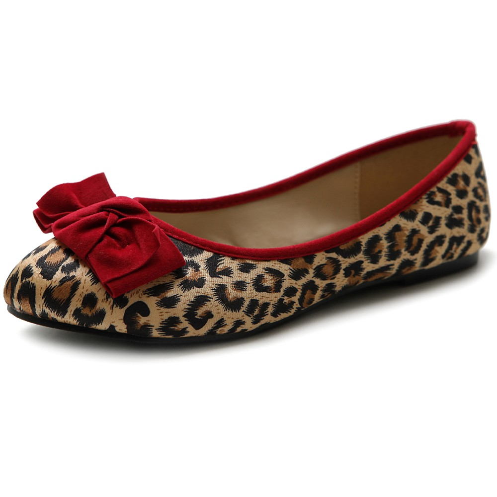 ollio Women's Ribbon Shoes Leopard Satin Ballet Flats