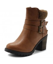 TWB0002 Fleece Buckle Ankle Boots
