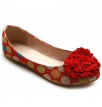 ZM1992 Canvas Dot Pattern Flower Flats