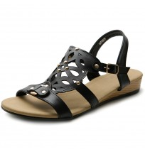M1063 Cut Out Strappy Wedge Sandals