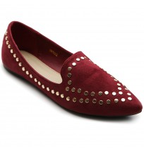 ZM1822 Faux-Suede Studded Flats