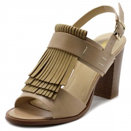 FT0007 Fringe Stack Block High Heel Sandals
