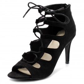 HW0002 Lace-up High Heel Booties